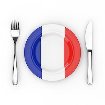 Konzept für französisches essen oder küche. gabel, messer und teller mit frankreich-flagge auf weißem hintergrund. 3d-rendering