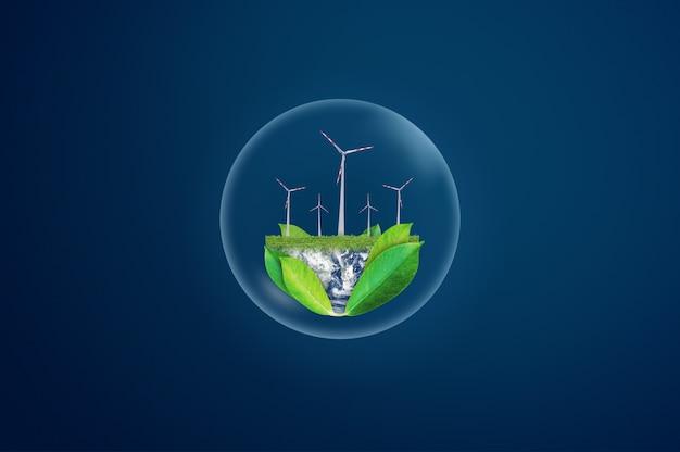Konzept für umweltfreundliche ressourcen und saubere energie. element dieses bildes sind von der nasa eingerichtet