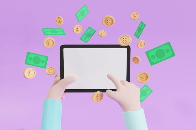 Konzept geld verdienen mit inhalten über mobiltelefone, kopienraum, münzen und bargeld im umlauf, 3d-illustration
