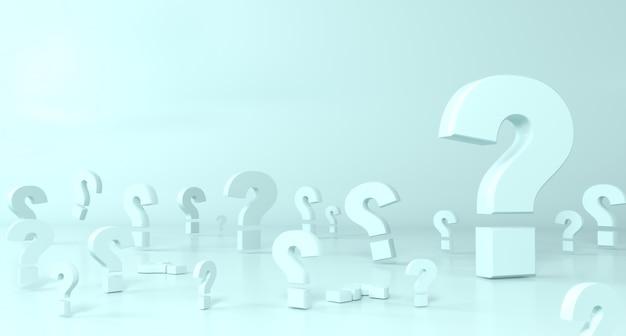 Konzept hintergrund. viele fragezeichen sind groß und klein. wissenschaft und bildung