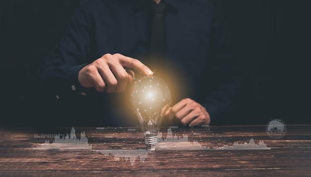 Konzept, idee, glühbirnenwachstumsillustration