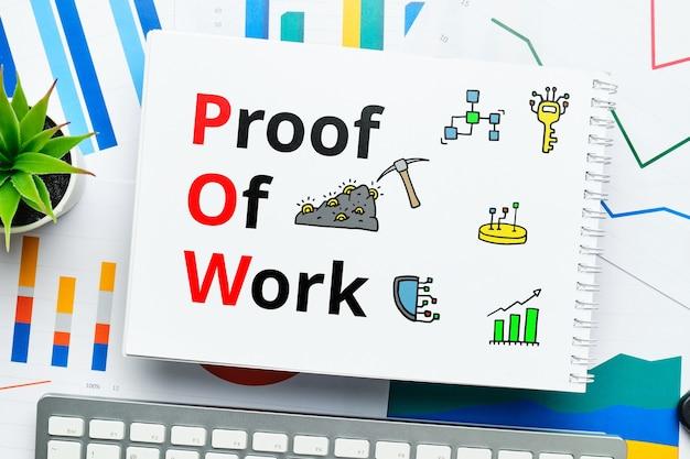 Konzept pow oder proof of work mit abstrakten symbolen.