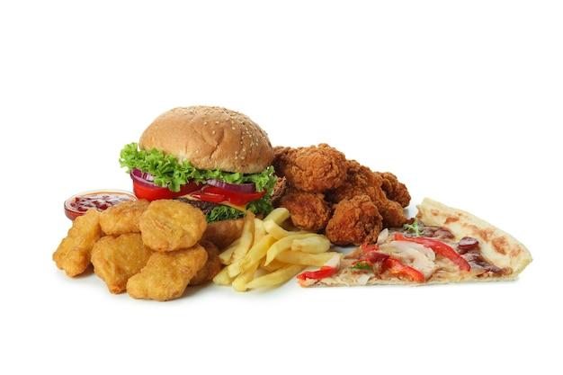 Konzept von fast food isoliert auf weißem hintergrund