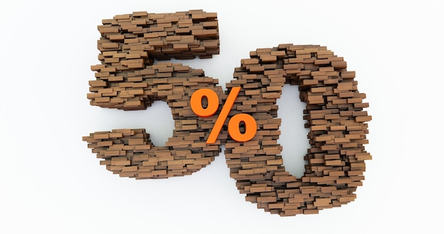 Konzept von holzziegeln, die sich zu 50% rabatt aufbauen, werbesymbol, holz 50%. 3d rendern