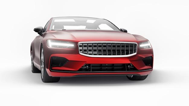 Konzeptauto sport-premium-coupé. plug-in-hybrid. technologien des umweltfreundlichen transports. rotes auto auf weißem hintergrund. 3d-rendering.