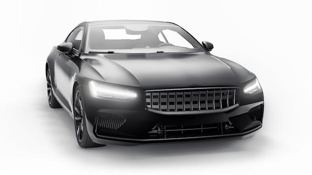 Konzeptauto sport-premium-coupé. plug-in-hybrid. technologien des umweltfreundlichen transports. schwarzes auto auf weißem hintergrund. 3d-rendering.
