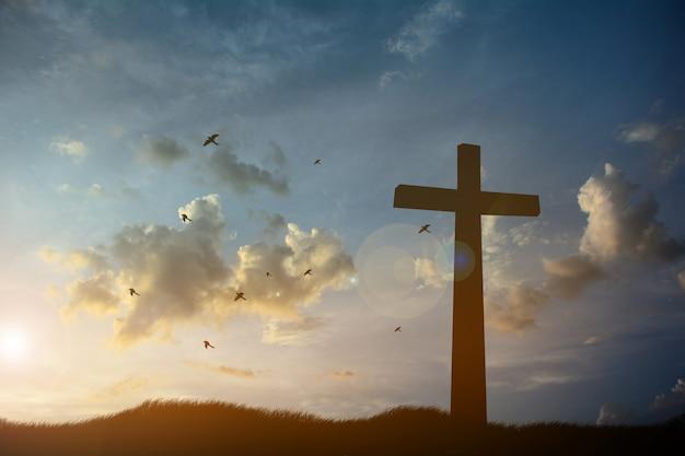 Konzeptbegriffsschwarzes kreuzreligions-symbolschattenbild im gras über sonnenuntergang- oder sonnenaufganghimmel