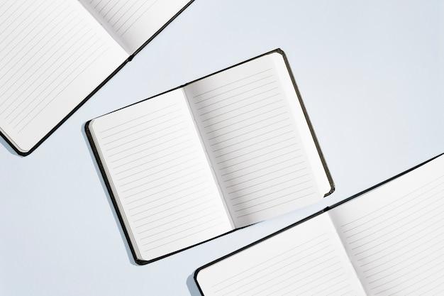 Konzeptdesign der flachen lage der notizbücher
