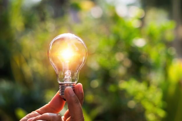Konzeptenergieenergie von solar in der natur. hand, die glühlampe mit sonnenuntergang hält