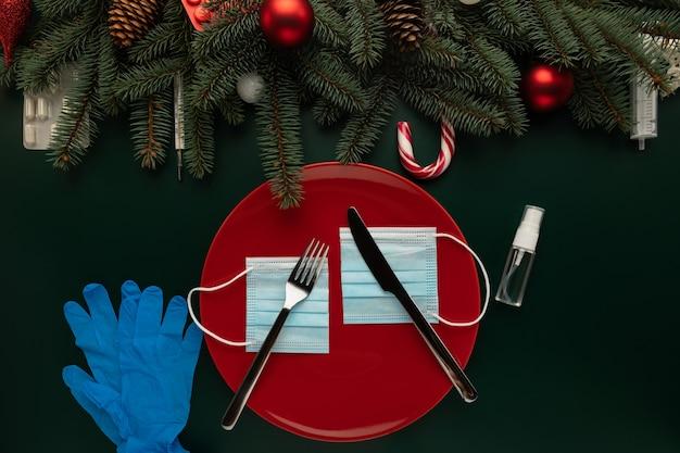 Konzeptfoto der auswirkungen der covid-pandemie auf weihnachten
