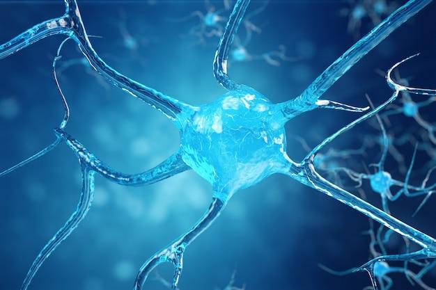 Konzeptionelle darstellung von neuronenzellen mit leuchtenden verbindungsknoten. synapsen- und neuronenzellen senden elektrische chemische signale. neuron miteinander verbundener neuronen mit elektrischen impulsen. 3d-illustration