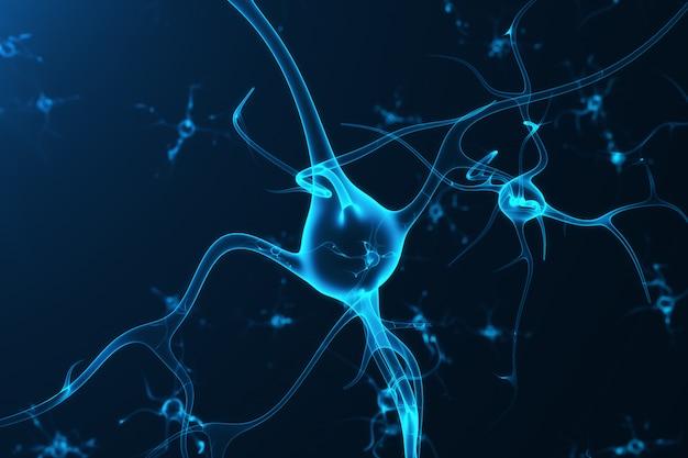 Konzeptionelle darstellung von neuronenzellen mit leuchtenden verbindungsknoten. synapsen- und neuronenzellen senden elektrische chemische signale. neuron miteinander verbundener neuronen mit elektrischen impulsen, 3d-rendering