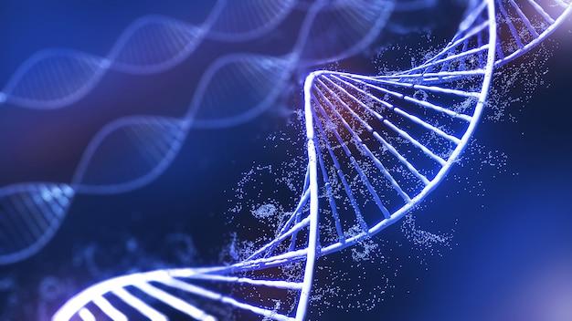 Konzeptionelle hintergrundillustration der dna-struktur, genetische bearbeitungstechnologie für das leben, 3d-rendering