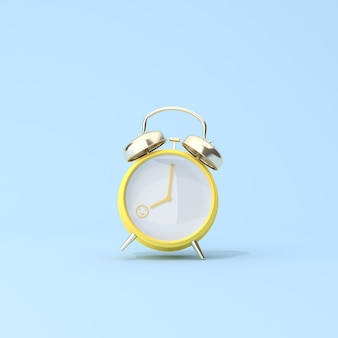 Konzeptionelle szene des gelben weckers um 8 uhr, aufwachen, glücklich am arbeitstag. 3d-rendering.
