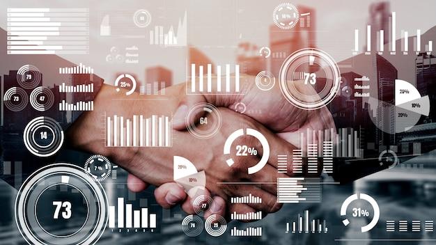 Konzeptioneller geschäftshandshake mit dashboard für die finanzdatenanalyse