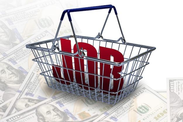 Konzeptioneller hintergrund der arbeitslosigkeit ein supermarktkorb mit der aufschrift job