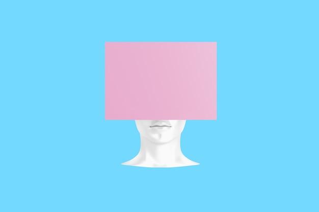 Konzeptionelles bild eines weiblichen kopfes mit einem würfel anstelle einer frisur