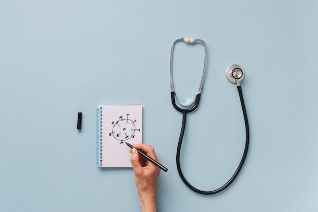 Konzeptionelles bild von coronavirus und gesundheitswesen