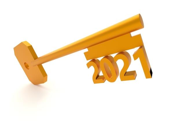 Konzeptschlüssel mit neujahr 2021 isoliert auf weiß