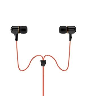 Kopfhörer mit einem roten kabel lokalisiert auf weißem hintergrund. 3d darstellung.