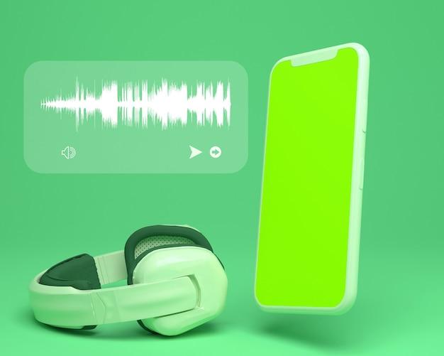 Kopfhörer mit greenscreen-smartphone und audiowellen