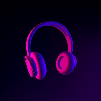 Kopfhörer-neon-symbol. 3d-rendering-ui-ux-schnittstellenelement. dunkel leuchtendes symbol.