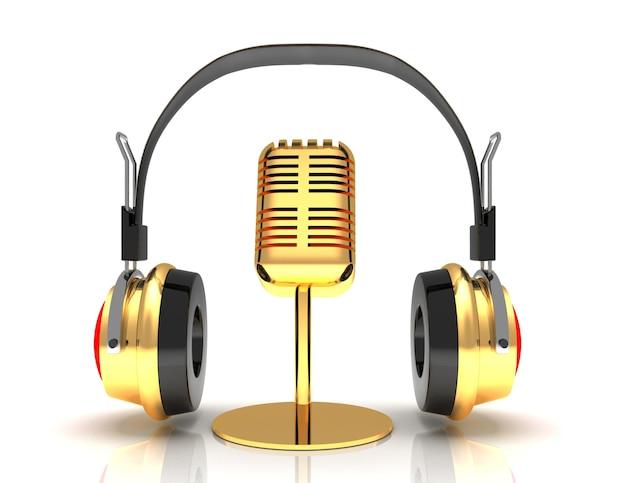 Kopfhörer und mikrofon isoliert auf weißem hintergrund. 3d-übertragungskonzept