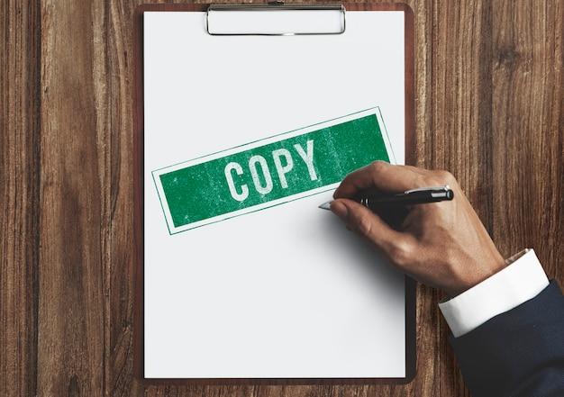 Kopieren duplikat drucken scan transcript counterfoil konzept