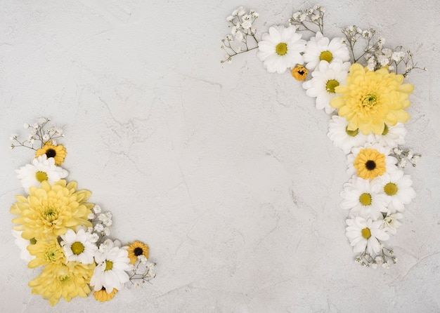 Kopieren sie den eleganten rahmen des raumes von frühlingsblumen
