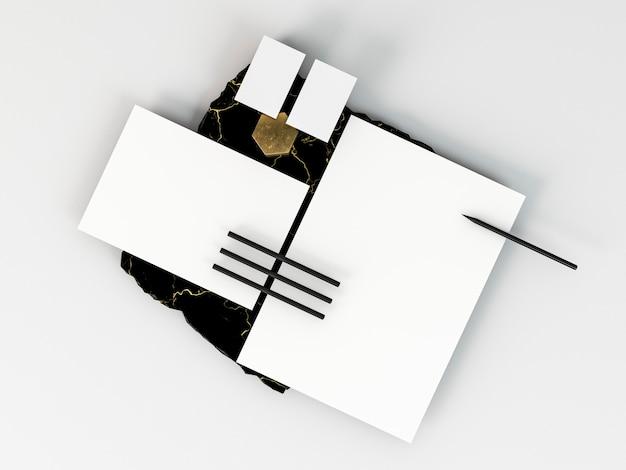 Kopieren sie leere briefpapierdokumente und stifte
