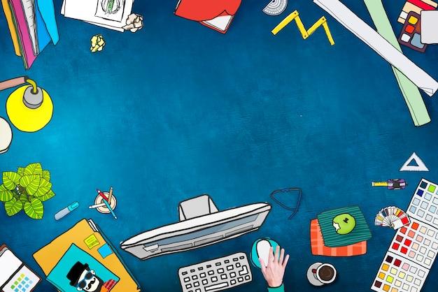 Kopieren sie platz leer leer büro-schreibtisch-konzept