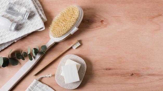 Kopierraum für natürliche haarbürsten