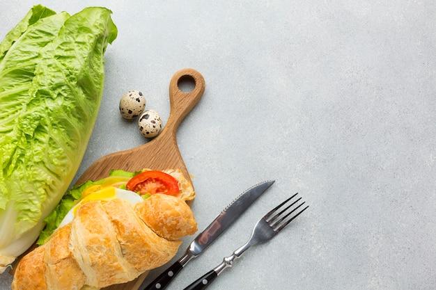 Kopierraum für sandwiches und salat