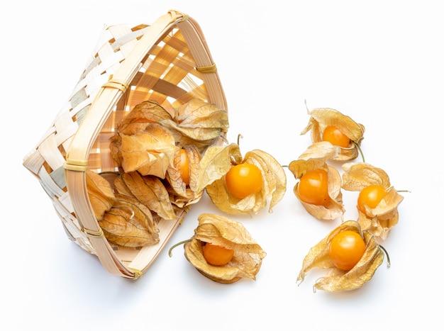 Korb mit blumen und früchten von fisalis