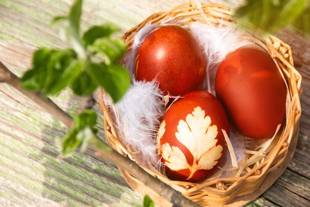Korb mit ostern verzierten braunen eiern mit aprikosenweißen und rosa blüten. urlaub-hintergrund. frühlingsferien.