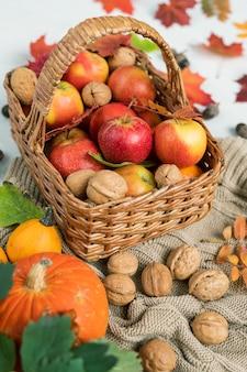 Korb mit reifen äpfeln, walnüssen und roten blättern, die auf gestricktem pullover mit zwei kürbissen in der nähe stehen