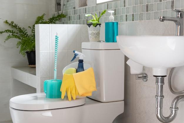 Korb mit reinigungsmitteln auf der toilettenschüssel im modernen badezimmer mit frischem grünem farn im zimmer