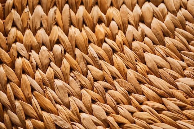 Korbmöbel aus bananenblättern, strukturierte hintergrundnahaufnahme