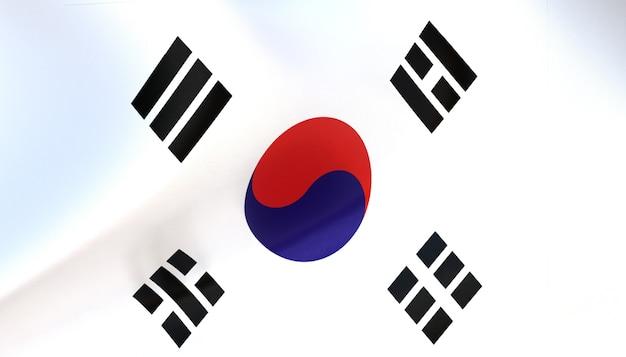 Korea-flagge rendern mit textur