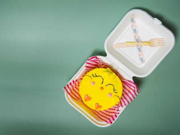 Koreanische kuchen-lunchbox, hühnerkuchen. platz für deinen text