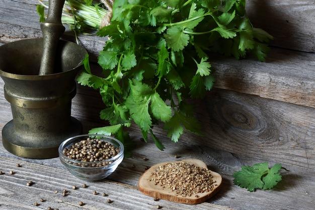 Koriander – gemahlen, körner und grüne blätter auf dem küchentisch