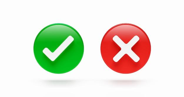 Korrektes und falsches häkchen symbol wahlzeichen test checkliste schaltfläche flaches design isoliert auf weißem hintergrund mit abstimmung ja oder nein element symbolbox. 3d-rendering.