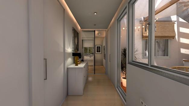 Korridor des modernen hauses mit dekorativer beleuchtung
