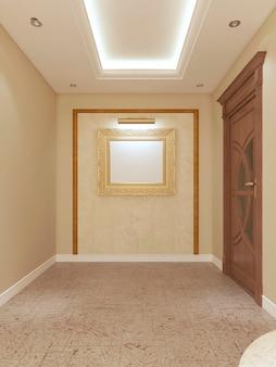 Korridor mit einem bild an der wand mit beleuchtung und rahmung. 3d-rendering