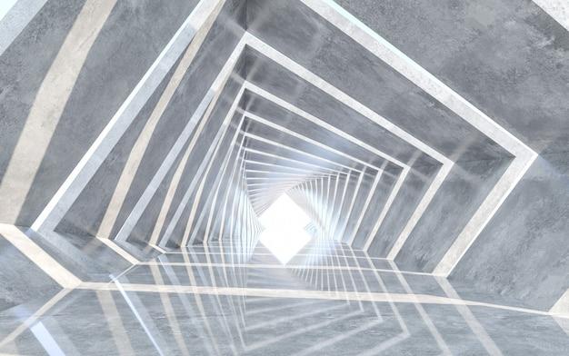Korridordesign mit reflektierenden boden. konzeptentwicklung. 3d-rendering