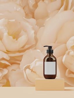 Kosmetik für branding und verpackungspräsentation. beiges farbenpodium auf pfingstrosenblumen. abbildung der wiedergabe 3d.