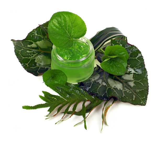 Kosmetikcreme im grünen glas