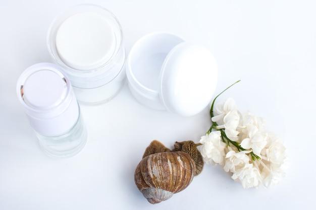 Kosmetikdosen mit einer schnecke