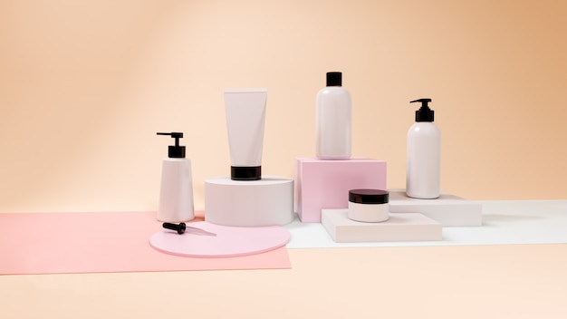 Kosmetikflasche gesetzt auf pastellhintergrund, 3d rendering design
