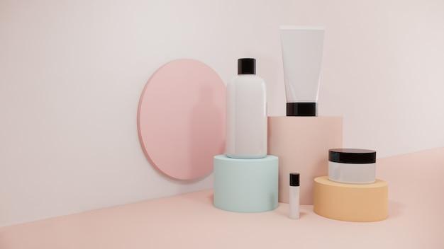 Kosmetikflasche gesetzt auf pastellhintergrundverpackungsdesign, 3d-darstellung